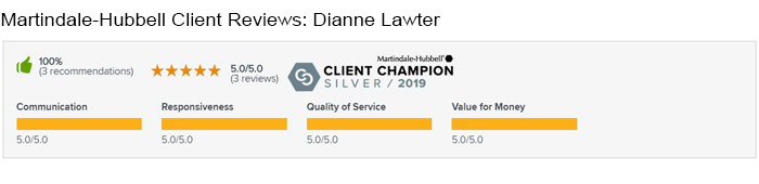 Martindale-Hubbell Client Reviews Dianne Lawter